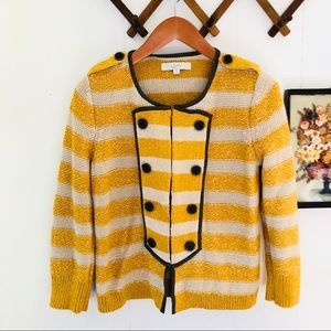 Striped Band Knit Sweater Cardigan